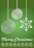 Christmas card with christmas balls - modern simple line design in white color on green background. Stock Image