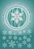 Christmas card with christmas balls - modern simple line design in white color on green background. Royalty Free Stock Photo