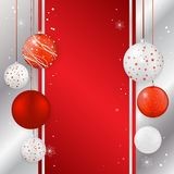 Christmas card with christmas balls in red and silver colors Royalty Free Stock Photo