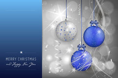 Christmas card with christmas balls on shiny background Royalty Free Stock Photo