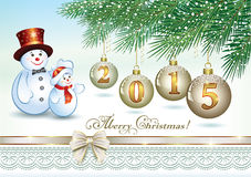 Christmas card with Christmas balls 2015. Christmas card with Christmas balls in 2015 and with snowmen Royalty Free Stock Images