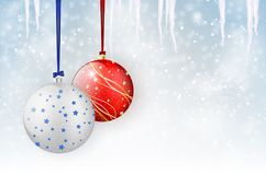 Christmas card with christmas balls on winter background Stock Photos