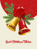 Christmas card with Christmas bells. Stock Images