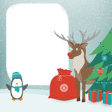 Christmas Card with Christmas Characters. Template with copy space. Vector Royalty Free Stock Photo