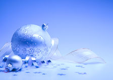 Christmas card with christmas decoration. On blue background Royalty Free Stock Photos