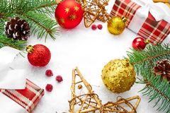 Christmas card.Christmas decoration. Christmas background. Christmas card.Christmas decoration.Holiday background with space for text.Christmas tree branches Royalty Free Stock Image