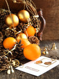Christmas Card with Christmas decoration, oranges  Royalty Free Stock Photos