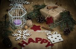 Christmas card and Christmas decoration in vintage style. Photo with copy space Stock Photos