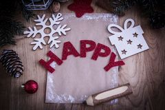 Christmas card and Christmas decoration in vintage style. Photo with copy space Royalty Free Stock Photo