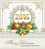 2016 Christmas card with Christmas decorations. On a background of snowflakes Stock Photos