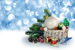 Christmas card with Christmas decorations Stock Photo