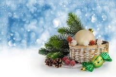 Christmas card with Christmas decorations Stock Photos
