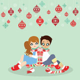 Christmas card with christmas decorations cartoon vector. Happy lovely couple illustration vector Stock Images