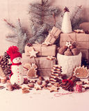 Christmas card. Christmas decorations - cookies, apples, nuts, s Royalty Free Stock Photography