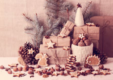 Christmas card. Christmas decorations - cookies, apples, nuts, s Royalty Free Stock Image