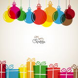 Christmas card with christmas decorations and presents, retro ve Royalty Free Stock Image