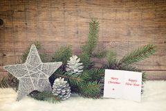 Christmas card. Christmas Decorations On Wooden Background Stock Photos