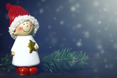Christmas card with Christmas elf Stock Photos