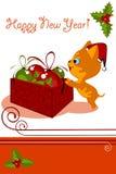 Christmas card. Christmas kitten Royalty Free Stock Image