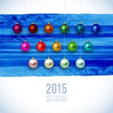 Christmas card with christmas ornaments. Watercolor painting, 2015 label, Happy New Year and Merry Christmas stamp. Vector illustration on white background Stock Illustration