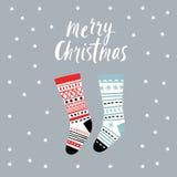 Christmas card, Christmas stocking Stock Photos
