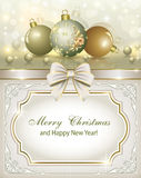 Christmas card with Christmas toys. In the form of golden balls on shining background royalty free illustration