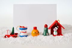 Christmas card with Christmas toys Royalty Free Stock Photo