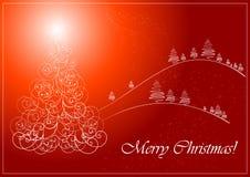 Christmas_card_with_christmas_tree Stock Photos