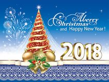 2018 Christmas card with Christmas tree. 2018 Christmas card with a Christmas tree on a background of fireworks and ornaments Stock Images