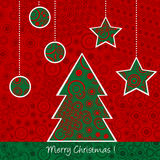 Christmas card with Christmas tree and balls Stock Image