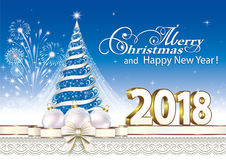 2018 Christmas card with a Christmas tree 2018. Christmas card with a Christmas tree and balls on the background of fireworks and ornaments Stock Image