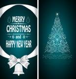 Christmas card with a Christmas tree Stock Photography