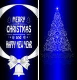 Christmas card with a Christmas tree Stock Photos