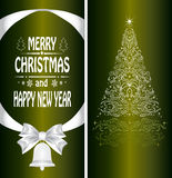 Christmas card with a Christmas tree Stock Images