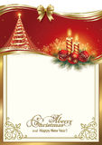 Christmas card with a Christmas tree and candles Royalty Free Stock Photos