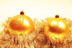 Christmas card with christmas-tree decorations Royalty Free Stock Image
