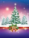 Christmas card with Christmas tree Stock Image