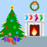 Christmas card with Christmas tree. Fireplace and gifts Stock Images
