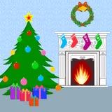 Christmas card with Christmas tree Stock Images
