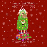 Christmas card with Christmas tree in the form of sheep and gifts Stock Image