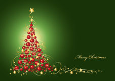 Free Christmas Card Christmas Tree From Red Christmas Balls Stock Images - 35565564