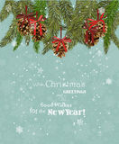 Christmas card with christmas tree and gingerbread on snowflakes background in vintage style. Royalty Free Stock Images