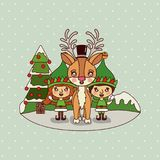 Christmas card with christmas tree and gnome kids and reindeer on colorful landscape background mountains and snow. Falling in backdrop vector illustration Royalty Free Illustration