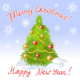 Christmas card with Christmas tree and greeting Royalty Free Stock Photo