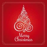 Christmas card with Christmas tree stock illustration