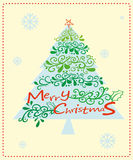 A christmas card with a christmas tree Stock Photography
