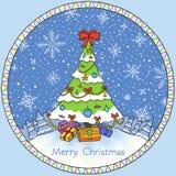 Christmas card. Christmas tree. Illustration Royalty Free Stock Images