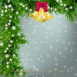 Christmas card with Christmas tree and jingle bells. Christmas and New Year Greeting card with Christmas tree, jingle bells and bow Stock Photography