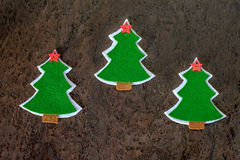 Christmas card. Christmas tree made of felt and decorative stars. Royalty Free Stock Image