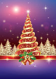 Christmas card with Christmas tree. In the night winter landscape Royalty Free Stock Images